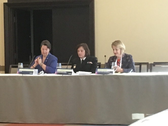 A harassment panel on the final afternoon with Rear Admiral Jennifer Bennett and Senator Marilou McPhedran.